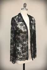 NWT RANDOLF DUKE Size 4 Sheer Lace Floral Mesh Shimmer Black Button Down