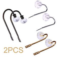 2Pcs Crystal Curtain Holdbacks Wall Tie Backs Metal Hooks Hanger Holder Decor