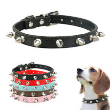 PU Leather Small Spiked Studded Rivets Dog Collars for Small Medium Dogs XS-L