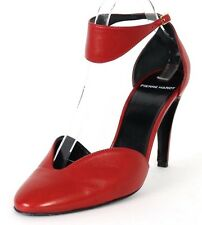 PIERRE HARDY $845 Red Calfskin Ankle Strap Rounded Toe d'Orsay Pumps 39