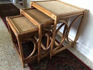 Vintage Coastal Woven Rattan Nesting Stacking Tables Boho Wicker Chic 3 Piece