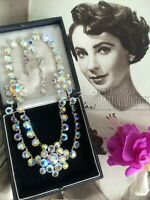 VINTAGE 1950s DOUBLE STRAND AUSTRIAN CRYSTAL SWAG NECKLACE BRIDAL JEWELLERY GIFT