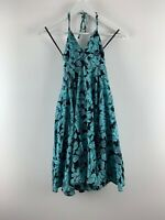 Womens H&M Divided Summer Slip Dress Size 8 Uk Floral Blue/black Round Mini *SJ