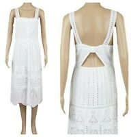 ex-branded Broderie Anglais Button Through Midi White Summer Beach Dress