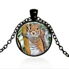 Vintage Squirrel on a Tree Black Dome glass Photo Art Chain Pendant Necklace