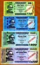 SPECIMEN Set, Bangladesh, 20-100-500-1000 taka, 2012-2014, UNC