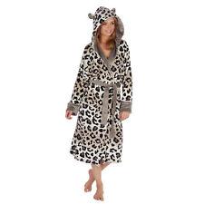 ** Ladies Womens Leopard Hood Dressing Gown Bath Robe 1Onesie Jumpsuit Playsuit