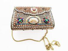 Indian  Bridal Wedding Ethnic Sling Bag Clutch Copper Silver Multi Color Stones