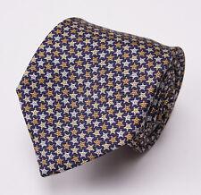 NWT $205 ERMENEGILDO ZEGNA Silk Tie Navy Blue-Gold Printed Star Pattern