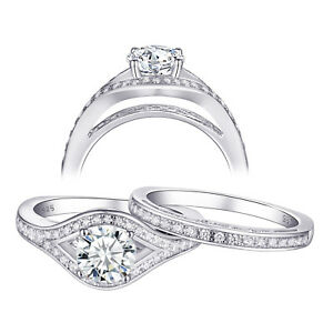 Wedding Engagement Ring Set For Women Round White Cz 925 Sterling Silver Size 6