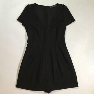 Zara Size Small Women's Short Cap Sleeves Plunge V Neck Short Romper In Black