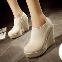 Womens Side Zip Ankle Boots Round Toe Platform Wedge High Heels Fashion Booties