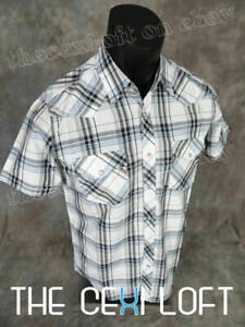 Plaid Shirt Short Sleeve Mens Western Heritage White Blue Silver Snap-Up Pockets