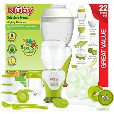Nuby GARDEN FRESH BABY Toddler CIBO STEAMER Mighty MISCELATORE 22 Pezzi Set Starter
