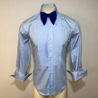 Vtg 70s AFTER SIX Tuxedo Shirt BLUE Ruffles TUX Dress Retro Prom Mens 17 35 36