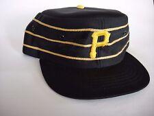 Vtg 1970 Pittsburgh Pirates Baseball Hat Black Pillbox Snapback MLB Large YA