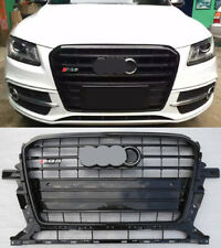 For AUDI Q5 RSQ5 2013 - 2017 Full Black Grille Grill with Chrome Emblem