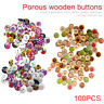100x Decorative Round 2 Holes Wooden Buttons for Scrapbooking Crafts 15mm