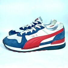Puma TX-3 White/Red/Blue Sneakers Classic Retro Low-Top Shoes Leather Sz: 11