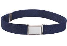 Kids Elastic Adjustable Strech Belt With Silver Square Buckle Navy Blue Belts