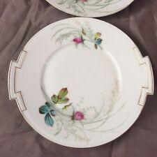 """2 Dinner Plates with Handles Pink Rose  European Gold Trim Vintage 10"""" Vintage"""