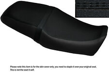 BLACK LEATHER BLACK DS STITCH CUSTOM FITS YAMAHA SRV 250 DUAL SEAT COVER