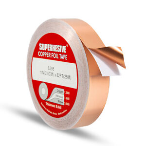 Copper Foil Tape - 1in x 82ft / 28yds / 25m  -  EMI Conductive Adhesive