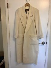 Anne Klein Coat Cream color maxi with lapel collar.  Tie inside waist and belt.
