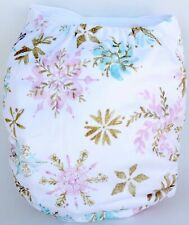 Snowflakes Winter Glitter Holiday Christmas One-Size Pocket Cloth Diaper Shipsus