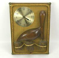 Vintage Pelican Pete Wood Clock Hand Carved Nautical Decor Sculpture USA