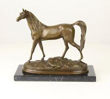 Bronze Skulptur Pferd auf Marmorsockel Horse Bronzefigur The Arab Horse