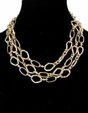 Gold chunky chains multi layered necklace bib collar necklace