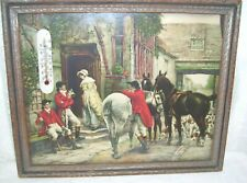 Antique Primitive Thermometer in Victorian Horse Riders and Dogs Framed Print