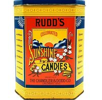 Vintage Tin Rudds Sunshine Candies Chandler Dodd Hinge Lid Replica Of Antique