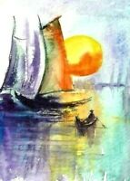ACEO Sunset abstract sea boat painting original landscape watercolor art card