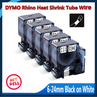 5PK 18051 18053 18055 Compatible DYMO Industrial Heat Shrink Tubes Black onWhite