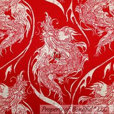 BonEful Fabric FQ Cotton Quilt Red White Large Asian Dragon Tattoo Tatsu Chinese