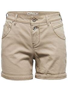 ONLY *** Damen Sexy SHORTS kurze Jeans Hose Hot Pants Capri Stretch beige grau