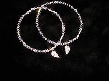 Swarovski Crystal & Sterling Silver BEST FRIENDS Bracelets Set!