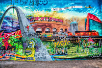 Graffiti Wall St. Louis, Urban Photography Signed Print, Industrial Loft Style