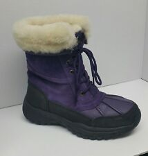 Bearpaw Purple Suede Leather Winter Boot Snowboots Womens Sz 7 Sheepskin Lace Up