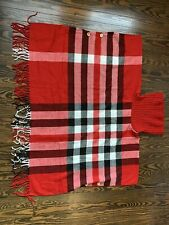 Top It Off Women's Plaid Poncho, Red Turtleneck Tartan Button Front Wrap