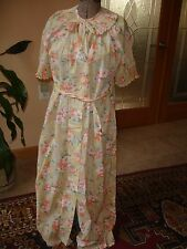 VINTAGE LEISURE LIFE LONG BUTTON FRONT ROBE W CRYSTAL PLEATS SZ 10 NWOT fds