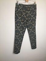Next Tailoring Trousers 10 Regular Floral Jacquard Print Cigarette Pants Work