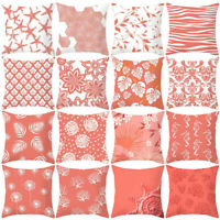 Coral Color Polyester Pillow Case Sofa Car Waist Throw Cushion Cover Home Decor