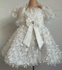 Ivory Diamante Bling Christening Flower Girl Wedding Easter Party Dress 0-24m