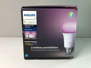 Philips Hue White and Color Ambiance E26 Bulb Starter Kit, New Open Box