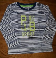 Petite Bateau navy and off white striped tshirt with lime green letters Size 3T
