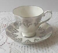Royal Grafton Bone Fine China Tea Cup and Saucer White & Silver 8731