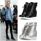 Womens High Top Lace Up Hidden Wedge Heels Plimsolls Casual Boots Sneakers Shoes